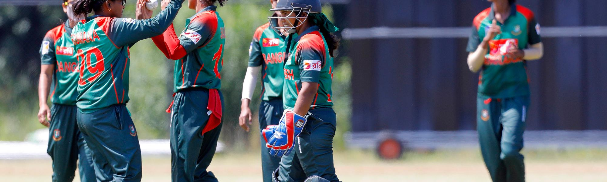 Bangladesh Players celebrate a wicket during the Practice Match, 5th July 2018.