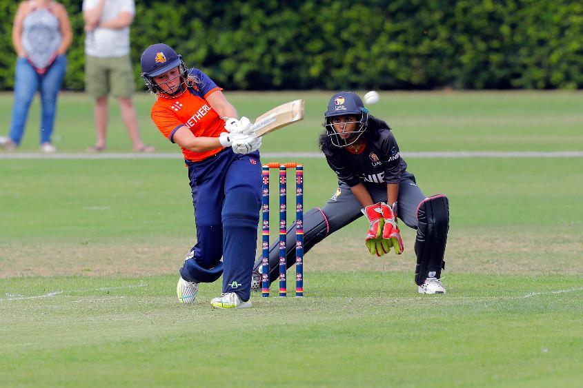 Match 3: Netherlands Batsmen Sterre Kalis plays a shot, Netherlands Women v UAE Women, Group A, ICC Women's World Twenty20 Qualifier at Utrecht, Jul 7 2018.