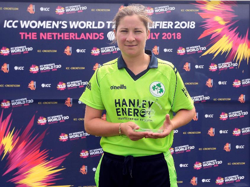 Match 1: Player of the Match award winner Ireland player Shillington, ICC Women's World Twenty20 Qualifier, Utrecht, 7th July 2018.