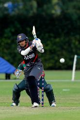 UAE Batsman ER Oza plays a shot, 11th Match, Group A, ICC Women's World Twenty20 Qualifier at Utrecht, Jul 10th 2018.
