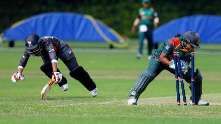 CR Seneviratna is run out (Rumana Ahmed), 11th Match, Group A, ICC Women's World Twenty20 Qualifier at Utrecht, Jul 10th 2018.