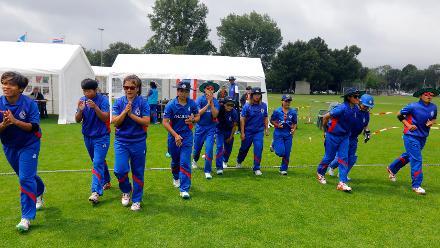 Thailand team entering the field, 9th Match, Group B, ICC Women's World Twenty20 Qualifier at Utrecht, Jul 10th 2018.