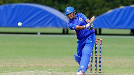 Thailand batsman Nannapat Koncharoenka plays a shot, 9th Match, Group B, ICC Women's World Twenty20 Qualifier at Utrecht, Jul 10th 2018.
