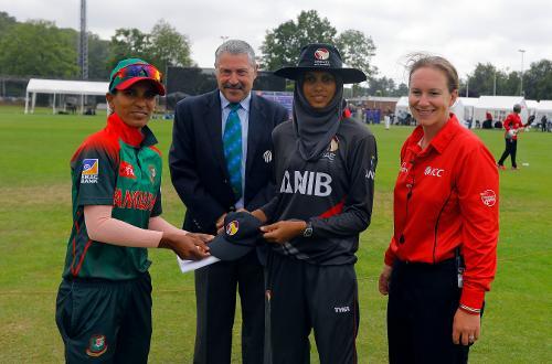 Bangladesh Capt Salma Khatun and UAE Capt Humaria Tasneem ready for the Toss, 11th Match, Group A, ICC Women's World Twenty20 Qualifier at Utrecht, Jul 10th 2018.