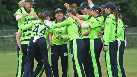 Ciara Metcalfe is congratuled, Ireland v Uganda, VRA, 10th July 2018