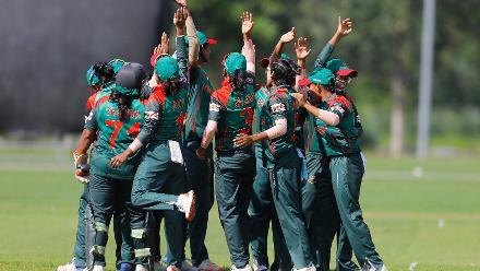 Fahima Khatun celebrates the Hat Trick with her teammates, 11th Match, Group A, ICC Women's World Twenty20 Qualifier at Utrecht, Jul 10th 2018.