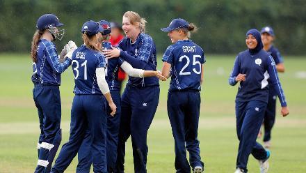 Scotland celebrating the win over Thailand, 9th Match, Group B, ICC Women's World Twenty20 Qualifier at Utrecht, Jul 10th 2018.