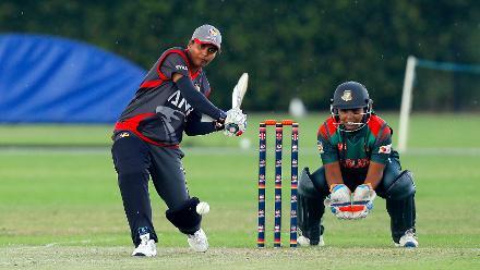 UAE Batsman Udeni plays a shot, 11th Match, Group A, ICC Women's World Twenty20 Qualifier at Utrecht, Jul 10th 2018.