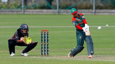 Sanjida Islam plays back up the pitch, 11th Match, Group A, ICC Women's World Twenty20 Qualifier at Utrecht, Jul 10th 2018.