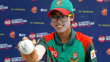 Player of the Match award to Fahima shows the signed ball she took the Hat-Trick with, 11th Match, Group A, ICC Women's World Twenty20 Qualifier at Utrecht, Jul 10 2018