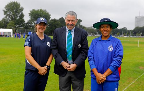 KE Bryce capt of Scotland and S Tippoch capt of Thailand ready for the toss, 9th Match, Group B, ICC Women's World Twenty20 Qualifier at Utrecht, 10th July 2018