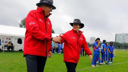 Umpires take to the field, 9th Match, Group B, ICC Women's World Twenty20 Qualifier at Utrecht, Jul 10th 2018.