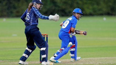 Thailand batsman plays a shot, 9th Match, Group B, ICC Women's World Twenty20 Qualifier at Utrecht, Jul 10th 2018.