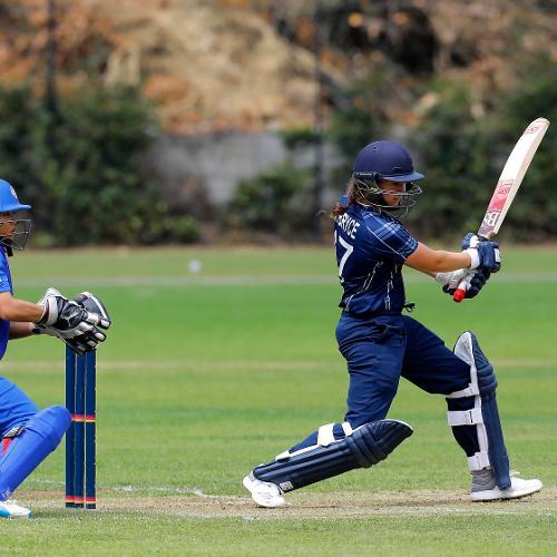 Scotland Batsman Kathryn Bryce plays a shot, 9th Match, Group B, ICC Women's World Twenty20 Qualifier at Utrecht, Jul 10th 2018.