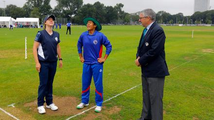 KE Bryce capt of Scotland and S Tippoch Capt of Thailand at the the toss, 9th Match, Group B, ICC Women's World Twenty20 Qualifier at Utrecht, 10th July 2018