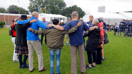 Scotland supporters make a huddle before the match, 9th Match, Group B, ICC Women's World Twenty20 Qualifier at Utrecht, Jul 10th 2018