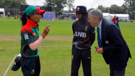 Bangladesh Capt Salma Khatun and UAE Capt Humaria Tasneem and Referee Jukes are ready for the Toss, 11th Match, Group A, ICC Women's World Twenty20 Qualifier at Utrecht, Jul 10th 2018.