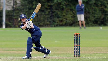 Becky Glen of Scotland plays a shot, 9th Match, Group B, ICC Women's World Twenty20 Qualifier at Utrecht, Jul 10th 2018.