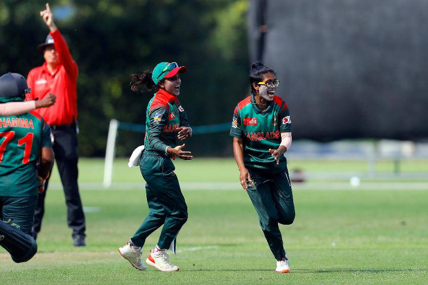 Fahima Khatun celebrates the Hat Trick with her teammates, 11th Match, Group A, ICC Women's World Twenty20 Qualifier at Utrecht, Jul 10th 2018.