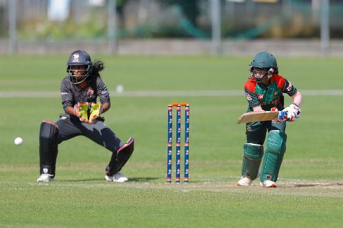 Bangladesh Batsman Jyoti plays a shot, 11th Match, Group A, ICC Women's World Twenty20 Qualifier at Utrecht, Jul 10th 2018.