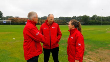 Umpires inspecting and discussing for the toss time after rain stopped, 9th Match, Group B, ICC Women's World Twenty20 Qualifier at Utrecht, July 10th 2018.