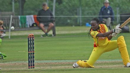Frankline Najumba plays and misses the ball, Ireland v Uganda, VRA, 10th July 2018