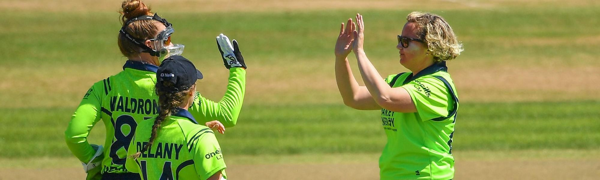 Ciara Metcalfe (right) picked up her 100th wicket for Ireland