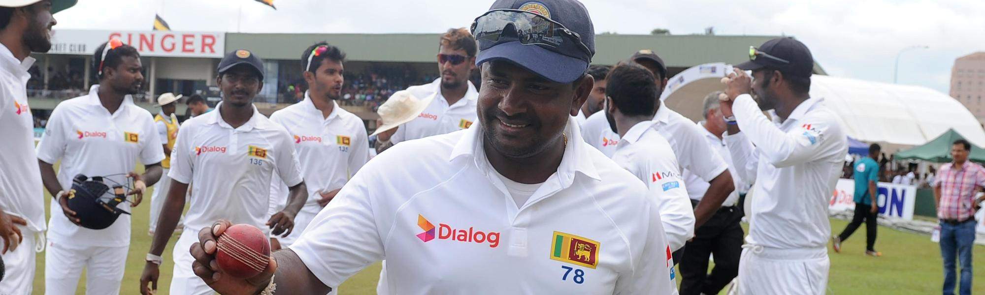 Rangana Herath celebrates the Test win