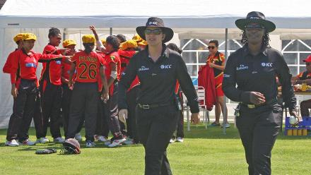 Umpires Jacquline Williams and Claire Polosak, 1st Semi Final Ireland v PNG, VRA, 12th July 2018.