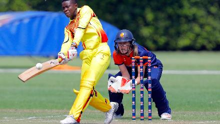 Uganda Batman I Nakisuuyi plays a shot, 1st Play-off Semi-Final, ICC Women's World Twenty20 Qualifier at Utrecht, Jul 12th 2018.