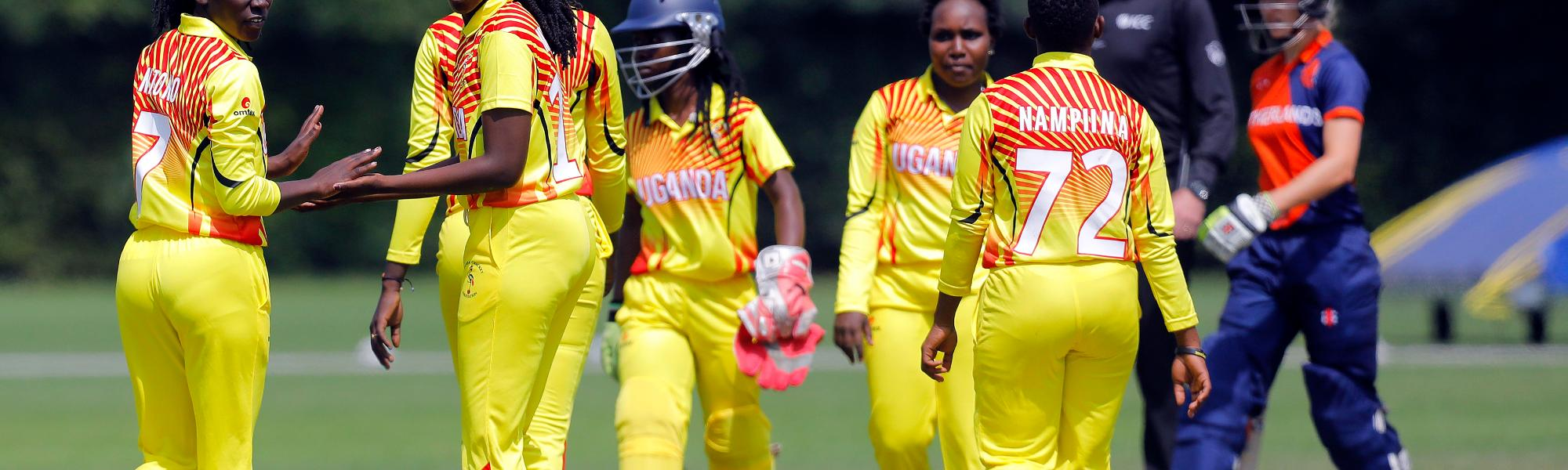 Ugandan players celebrate the dismissal of Netherland Batsman Kallis, 1st Play-off Semi-Final, ICC Women's World Twenty20 Qualifier at Utrecht, Jul 12th 2018.