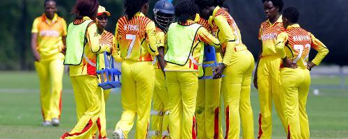 Uganda players celebrate the dismissal of Netherlands Batsman HDJ Siegers bowled by Musamali, 1st Play-off Semi-Final, ICC Women's World Twenty20 Qualifier at Utrecht, Jul 12th 2018.