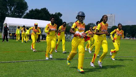 Uganda Team stride onto the field, 1st Play-off Semi-Final, ICC Women's World Twenty20 Qualifier at Utrecht, Jul 12th 2018.