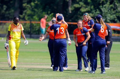 Netherland players celebrate the dismissal of F Najjumba. 1st Play-off Semi-Final, ICC Women's World Twenty20 Qualifier at Utrecht, Jul 12th 2018.