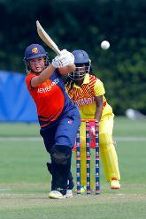 Netherland batsman Sterre Kalis plays a shot, 1st Play-off Semi-Final, ICC Women's World Twenty20 Qualifier at Utrecht, Jul 12th 2018.