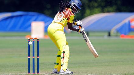 Uganda Batsman J Mbabazi plays a shot, 1st Play-off Semi-Final, ICC Women's World Twenty20 Qualifier at Utrecht, Jul 12th 2018.