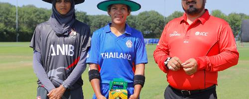 Thailand S Tippoch (c) and UAE Humara (C) ready for the toss, 2nd Play-off Semi-Final, at Utrecht, Jul 12th 2018.