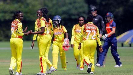 Ugandan players celebrate the dismissal of Netherland Batsman Kallis, 1st Play-off Semi-Final, ICC Women's World Twenty20 Qualifier at Utrecht, Jul 12th 2018.