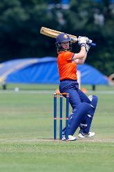 Netherlands Batsman Robin Rijke plays and misses, 1st Play-off Semi-Final, ICC Women's World Twenty20 Qualifier at Utrecht, Jul 12th 2018.