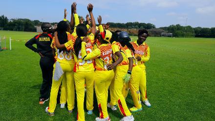 Uganda Team huddle before the match, 1st Play-off Semi-Final, ICC Women's World Twenty20 Qualifier at Utrecht, Jul 12th 2018.