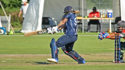 Abbie Aitken drives square, 2nd Semi-Final: Bangladesh Women v Scotland Women, VRA Ground, 12th July 2018.