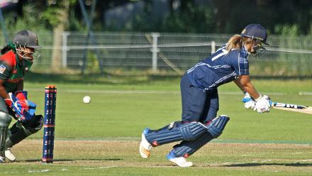 Katie McGill plays around her legs, 2nd Semi-Final: Bangladesh Women v Scotland Women, VRA Ground, 12th July 2018.