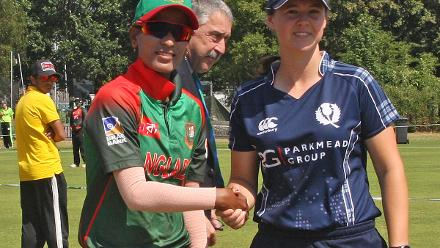Captains Salma Khatun and Kathryn Bryce, 2nd Semi-Final: Bangladesh Women v Scotland Women, VRA Ground, 12th July 2018.
