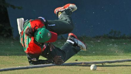 A wonderful save by Samin Sultana, 2nd Semi-Final: Bangladesh Women v Scotland Women, VRA Ground, 12th July 2018.