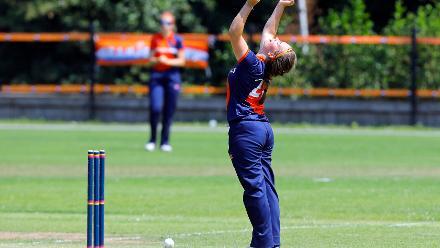 Netherlands bowler celebrates the run out of F Najjumba, 1st Play-off Semi-Final, ICC Women's World Twenty20 Qualifier at Utrecht, Jul 12th 2018.