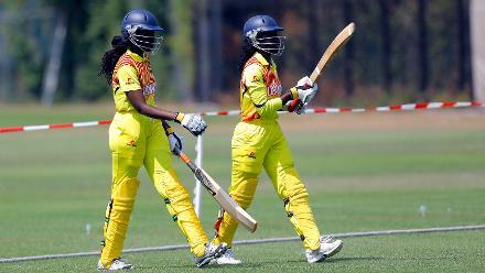 Uganda batsman R Ntono and J Mbabazi enter the field of play, 1st Play-off Semi-Final, ICC Women's World Twenty20 Qualifier at Utrecht, Jul 12th 2018.