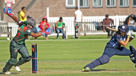 Priyanaz Chatterji is bowled by Rumana Ahmed, 2nd Semi-Final: Bangladesh Women v Scotland Women, VRA Ground, 12th July 2018.