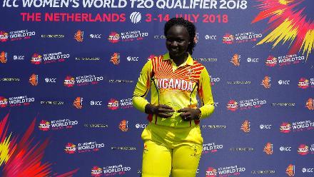 Player of the match award winner G Candiru of Uganda, 1st Play-off Semi-Final, ICC Women's World Twenty20 Qualifier at Utrecht, Jul 12 2018 :