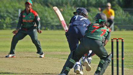 Tactically played to midwicket by Kathryn Bryce, 2nd Semi-Final: Bangladesh Women v Scotland Women, VRA Ground, 12th July 2018.