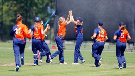 Netherland Players celebrate the dismissal of J Mbabazi, 1st Play-off Semi-Final, ICC Women's World Twenty20 Qualifier at Utrecht, Jul 12th 2018.